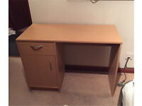 Beech effect study desk with drawer and cabinet