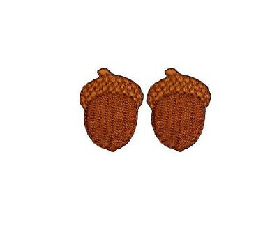Acorn - Fall - Autumn - Oak Tree - Embroidered Iron On Applique Patch - Set of 2