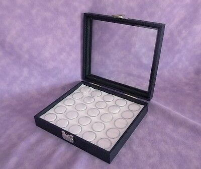 Gem Storage Glass Top Case With Hinged Lid 25 Jars White Foam