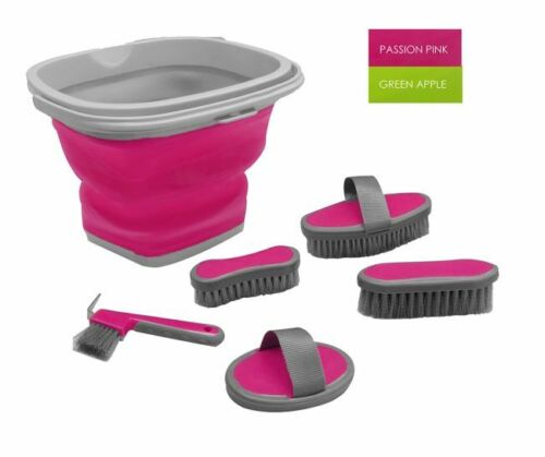 New 5 Pc Horse Grooming Kit w/ Collapsible Bucket Soft Grip Brushes & Hoof Pick