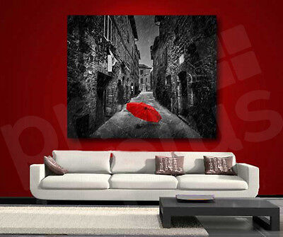 Red Umbrella Black and White Street Canvas Art Poster Print Wall Decor
