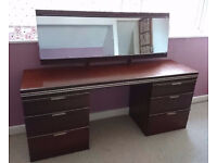 FREE Mahogany Dressing Table and set of drawers / bedside table. Solid constuction