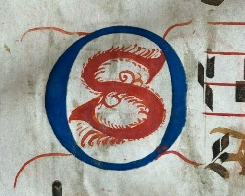 1350 HUGE ORIGINAL handwritten medieval VELLUM manuscript 2 Very Large Initials