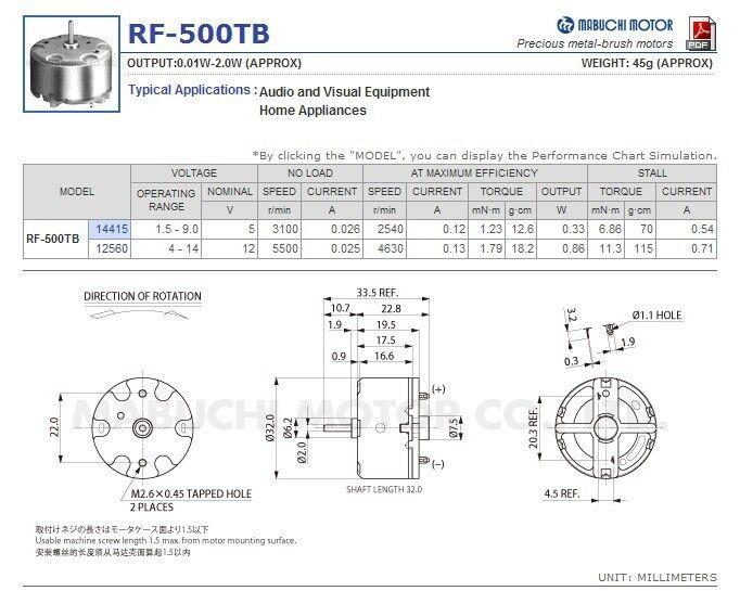 Mabuchi RF-500TB-12560 Mini DC motor DC 3V-12V 5500 RPM de diámetro 32 mm Motor de corriente continua