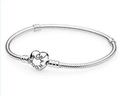 Fashion Heart Clasp Silver Snake Chain Bracelet Fit European Charm Beads