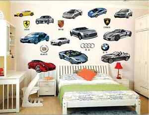 Famous Car Removable Wall Stickers Kids Boys Nursery Mural Decal AU 12 Mix Cars