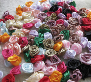 500-100pcs-Satin-Ribbon-Flower-Rose-craft-wedding-appliques-Lots-U-pick-E130