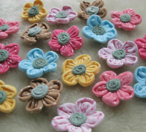 60-10-U-Pick-Fabric-Flower-Appliques-sew-craft-wedding-DIY-doll-lots-mix-A586