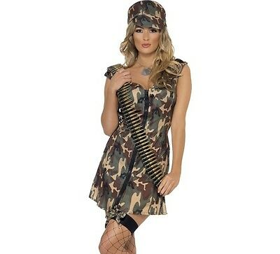 Damen Armee Mädchen Kostüm Soldaten Kostüm Tarnung Kleid & Hut Smiffys neu