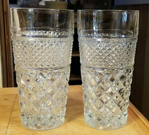 Lot of 2 ~ Anchor Hocking WEXFORD 14 oz Water Tumblers 6-1/4""