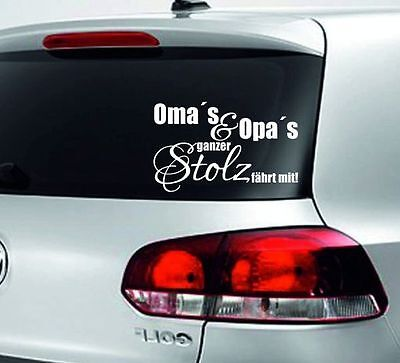 Baby Aufkleber Kids Sticker Autoaufkleber Board Oma & Opa ´s Stolz fährt mit 30