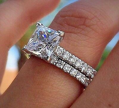 Pave 1.35 ct. Princess Cut NATURAL Diamond Engagement Bridal Set GIA D, VS1