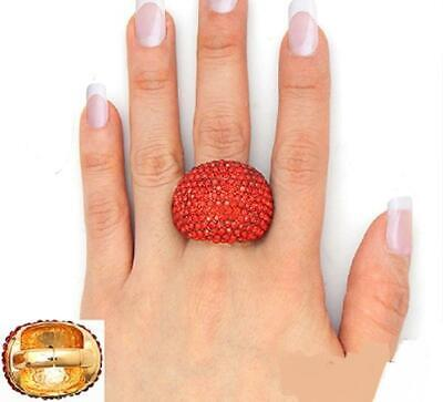 Gold Tone Red Crystal Dome Shape Stretch Ring  Tone Crystal Dome