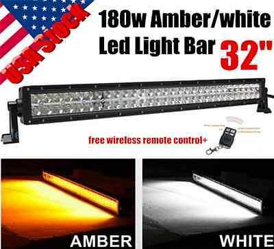 32Inch 180W White   Amber Led Light Bar Car Spot Flood Offroad 4Wd Fog Truck 30