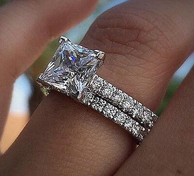NATURAL GIA 1.80 ct Princess Cut Diamond Engagement Bridal Set G,VS1 Pave 14k WG