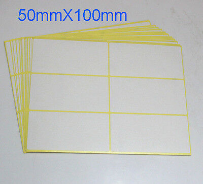 New Sticker Label White Paper Self Adhesive Rectangle Blank Matte 50x100mm