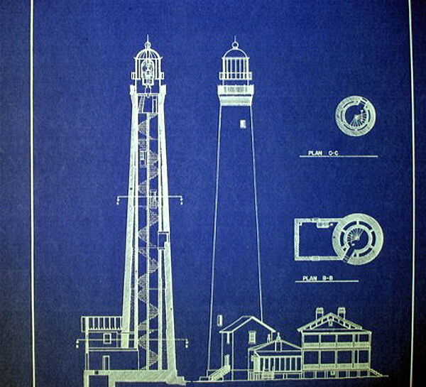 Lighthouse Pensacola Florida Builders Blueprint Display Plan 16x20  (271)