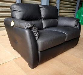 New Unused 2 Seater Leather Mix Sofa - Black