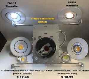 "Potlight New Construction 4"" +Trim +LED  : ONLY $17.49"
