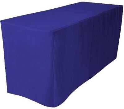 6 Ft. Fitted Polyester Table Cover Trade Show Booth Dj Tablecloth Royal Blue