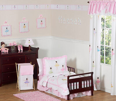 Pink White Ballerina Toddler Size Girl Bedding For A Kid Bed
