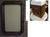 reclaimed wood rustic frame and vanity cabinet with modern sink