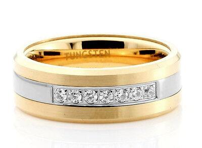 Diamond Tungsten Carbide 0.28Ct Men's wedding band Ring 14K Yellow Gold (Tungsten Carbide Mens Wedding Bands With Diamonds)