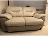 Sofa - 2 seater and 3 seater cream leather sofa