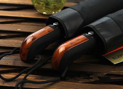"Men 43"" Automatic Large Folding Windproof Rain Umbrella Black"