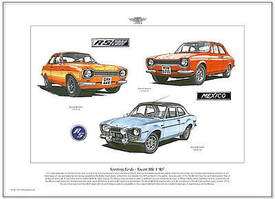 FORD ESCORT MK1 RS - Fine Art Print A3 size - RS Mexico, RS1600 & RS2000 models