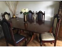 Dining table and 5 antique chairs