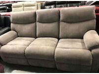 Grey fabric 3 seater recliner and 2 seater sofa