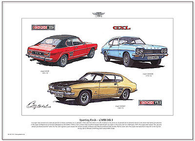 FORD CAPRI MK1 - Fine Art Print - A3 size - 3000E 3000GT and 3000GXL illustrated