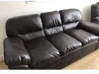 Dark brown faux leather 3 seater settee ana 1 arm chair £100.