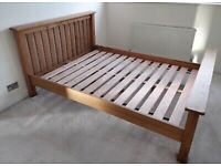 Dark Solid Oak Double Bed, Great Condition