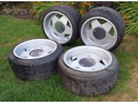 "BORBET A ALLOY WHEELS tyres 16"" 9J front/back Vw golf mk1 mk2 BMW e30 4X100 flat caps"