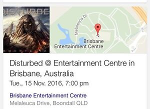 2x tickets to Disturbed Brisbane 15/11/16 Boondall Brisbane North East Preview