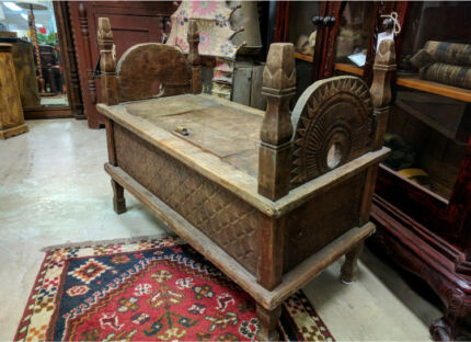 Rustic Vintage Indian Bench Seat Storage Coffee Table