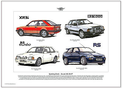 FORD ESCORT MkIII to MkV - Art Print A3 size - RS Turbo RS1600i XR3i illustrated