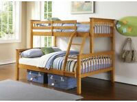 BEST WOODEN USED NEW SINGLE TOP DOUBLE BOTTOM STRONG WOODEN TRIO BUNK BED FRAME FOR ADULTS