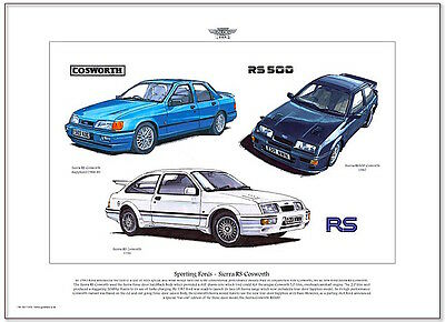 FORD SIERRA RS COSWORTH - Fine Art Print A3 size - RS 500 Sierra Sapphire models