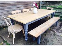 Large Farmhouse Kitchen Dining Table Set Bench and Chairs