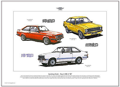 FORD ESCORT MK2 - Fine Art Print A3 size - RS Mexico RS2000 & RS1800 illustrated