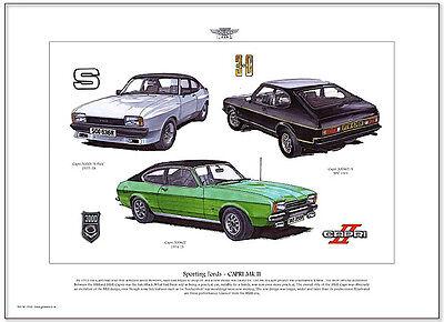 FORD CAPRI MK2 - Fine Art Print - A3 size - 3000GT 3000S 'X-Pack' & 3000GT/S JPS