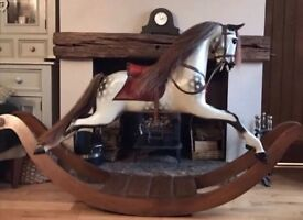 Large Bow Stevenson Bros Rocking Horse, Traditional Wooden Child's Gift