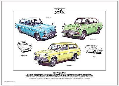 FORD ANGLIA 105E - Fine Art Print A3 size - Super, De Luxe & Estate illustrated