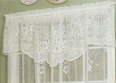 """Heritage Lace """"English Country Rose"""" Curtain Valance 60"""" X 20"""" Ecru New in Pkg"""
