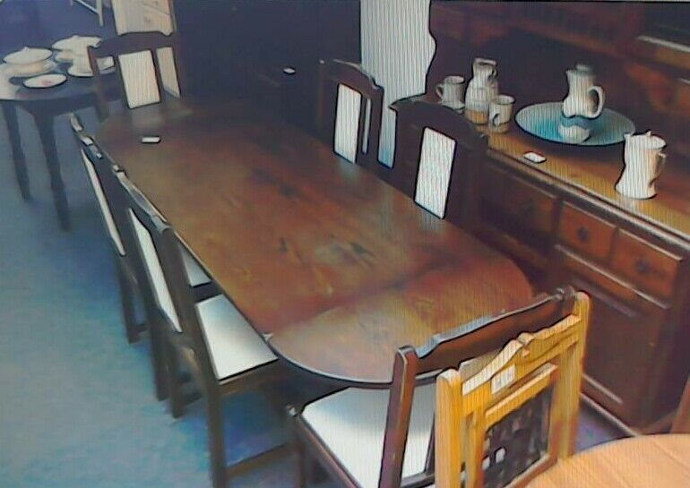 Dark wood long trestle table with 6 chairs #32801 £120