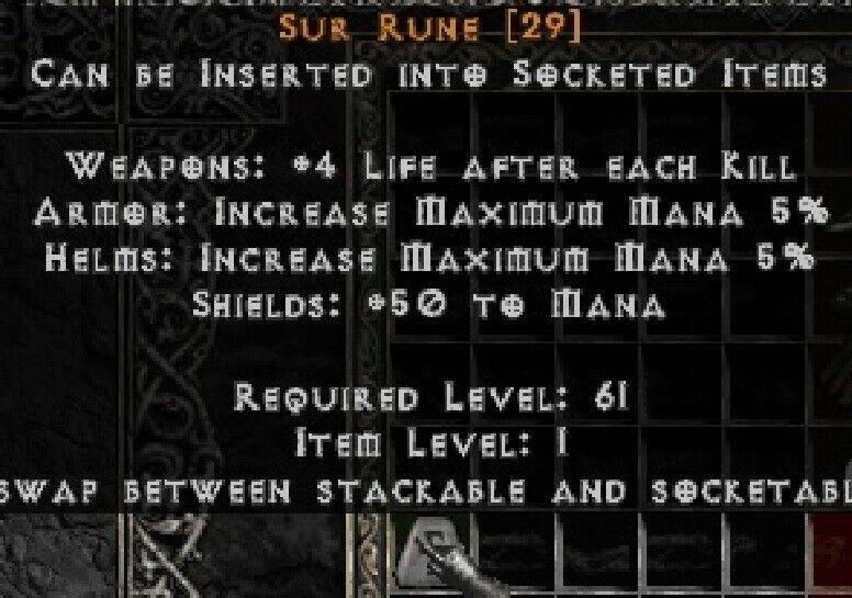 PD2 Project Diablo 2 Softcore SC - SUR RUNE