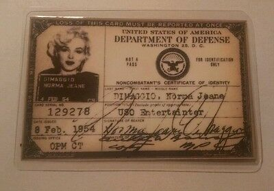 Marilyn monroe 1954 USO Id card